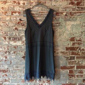 NWT Astr slate blue  sundress with lace trim